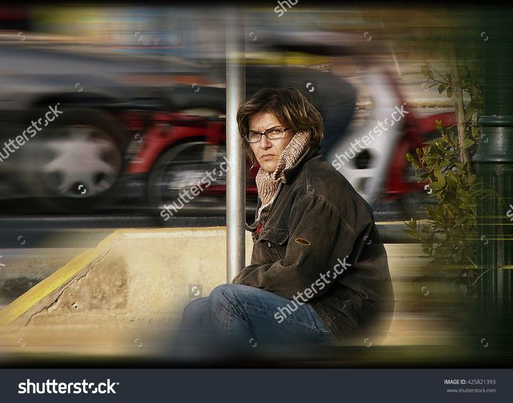 A Beautiful Woman Sitting By The Roadside, And Has Bad Thought In Her Mind. Caucasian. Melancholy, Depression. Concept. Digital Processing Illustration Lines, Halftones - 425821393 : Shutterstock