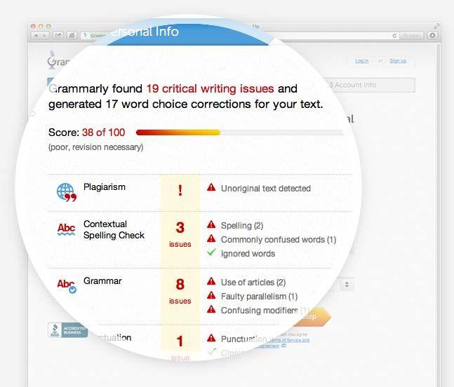 Grammarly Grammar Checker:  automated grammar checker and plagiarism checker !