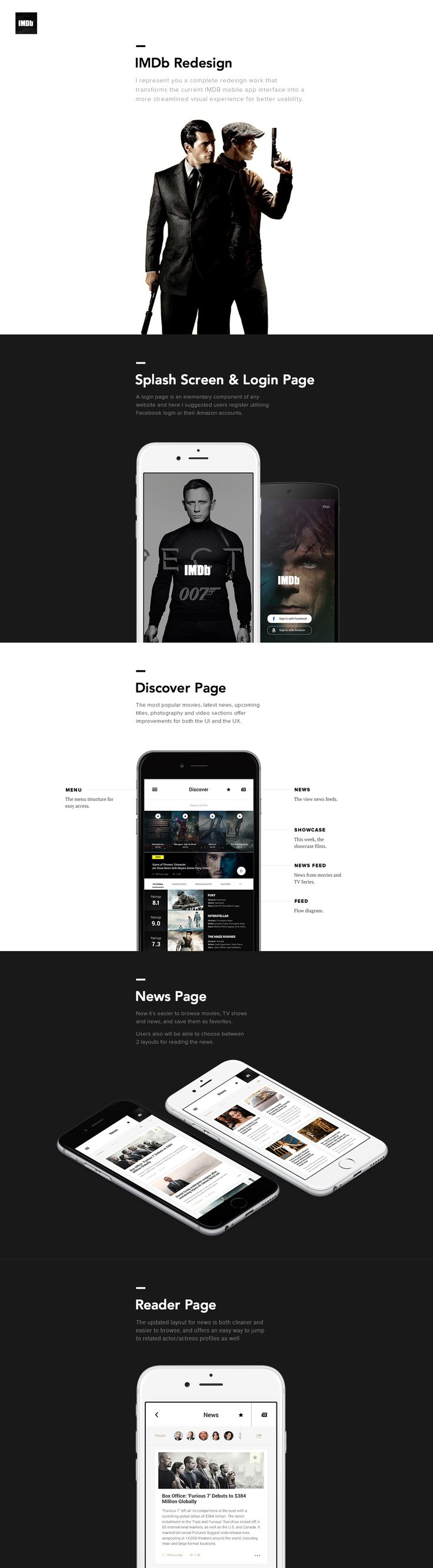 I represent you a complete redesign work that transforms the current IMDB mobile app interface into a more streamlined visual experience for better usability.