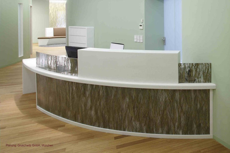 Curved reception counter fascia of thermoformed INVISION Beargrass