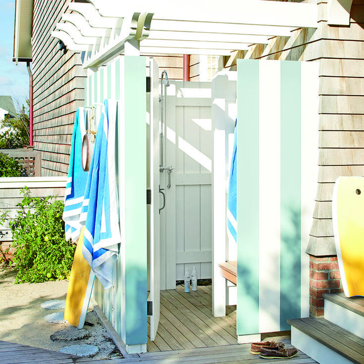 Striped Outdoor Shower - Fresh-Air Outdoor Bath Showers for Beach Houses - Coastal Living