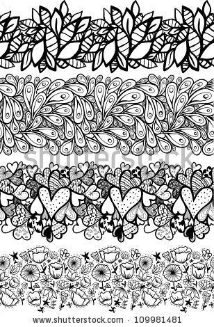 Doodle+decorative+seamless+lines+set.
