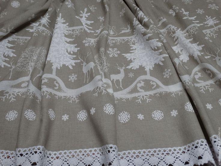 Купить Скатерть льняная новогодняя Сказочный лес - комбинированный, серый, белый, домашний текстиль