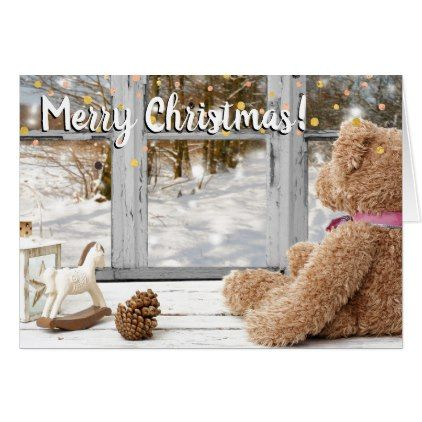 Merry Christmas teddybear on window Card - Xmas ChristmasEve Christmas Eve Christmas merry xmas family kids gifts holidays Santa