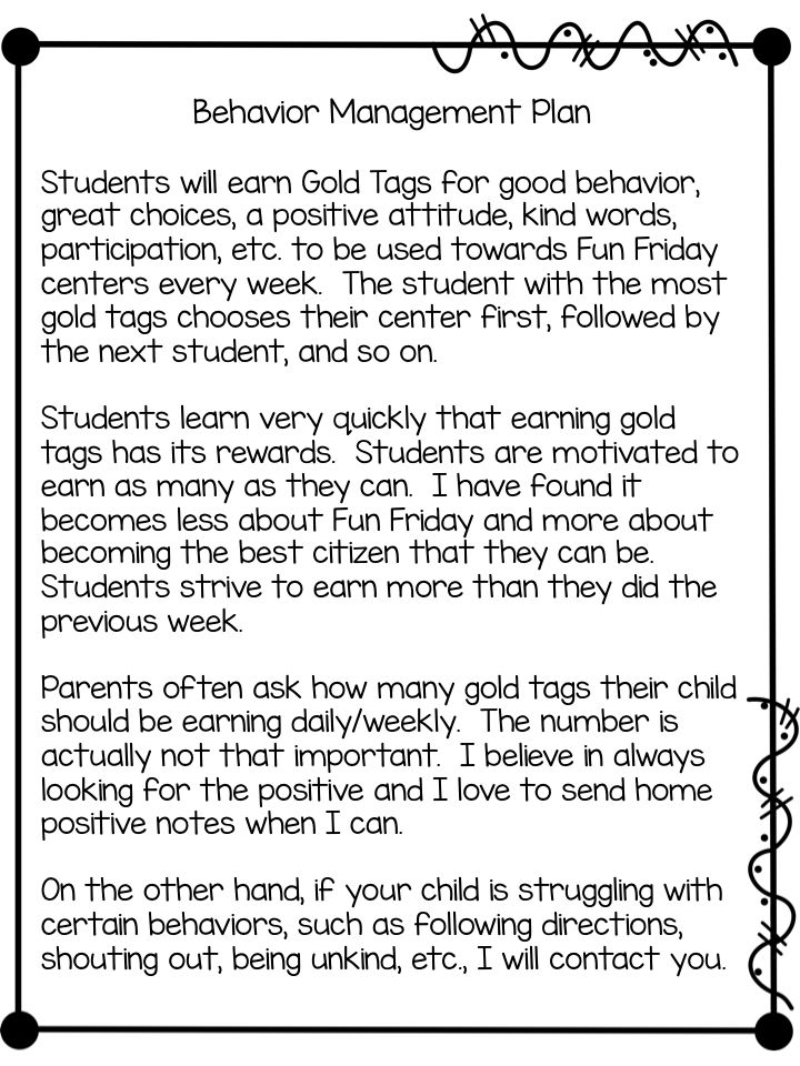 Gold Tags Behavior Management Plan (freebies)