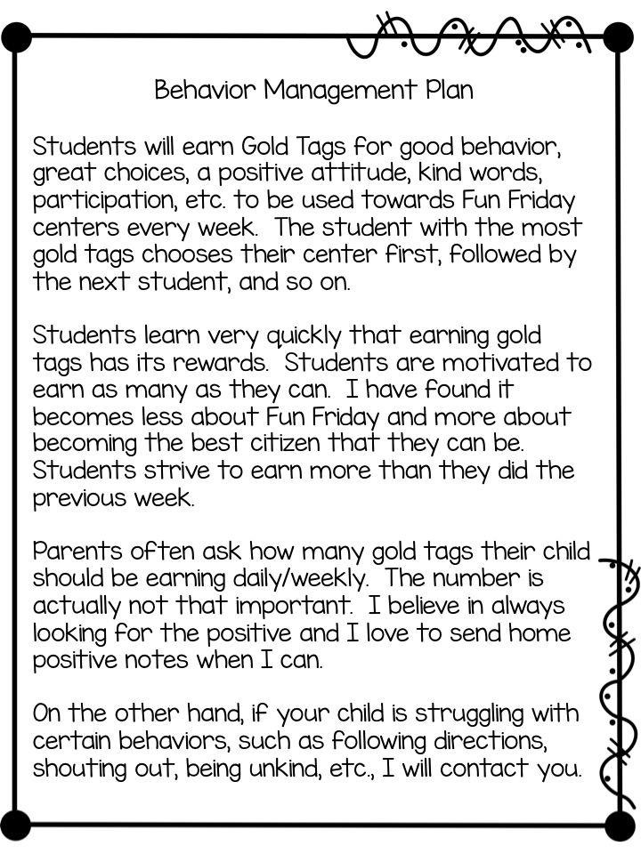 Gold Tags Behavior Management Plan (freebies)