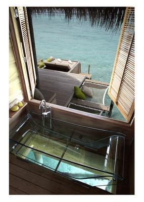 Six Senses Laamu in the Maldives...clear bathtub over the water!!!!!!