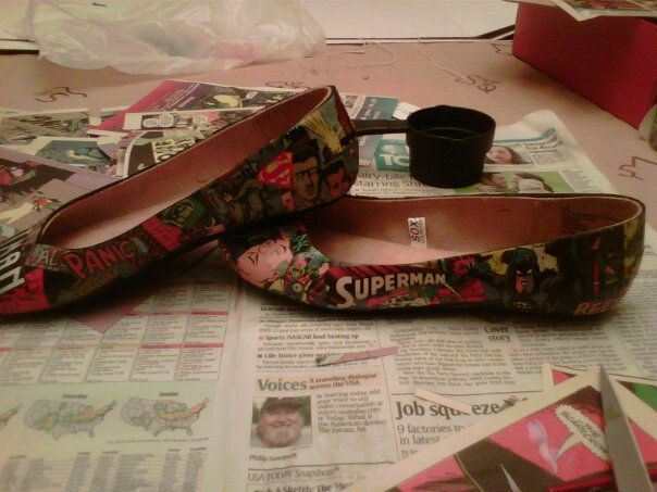 DIY Comic Book decorated shoes. So cool and so awesome!