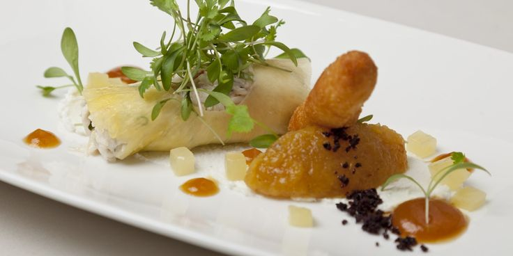 Dressed crab with pineapple chutney and goat's cheese beignet