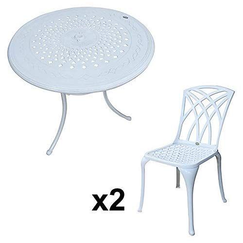 Lazy Susan - Table Ronde 80 cm Anna et 2 chaises de Jardin ...