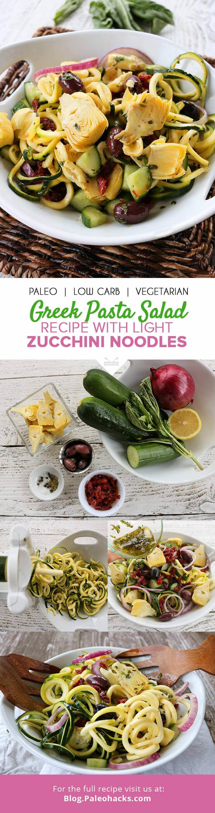Step aside lettuce, zucchini noodles will be taking over from here! Topped with a lemon basil dressing, this antipasto-style salad is packed with Mediterranean vegetables over curly zucchini noodles for a pasta salad that eats like a meal. Get the recipe here: http://paleo.co/greekzoodlessalad