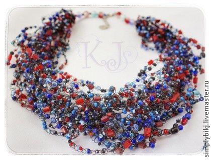 """Колье """"Красно-синий"""" - воздушное колье,воздушка,яркое колье,украшение в подарок. Multistrand Bead Crochet Necklace. Beadwork Necklace."""