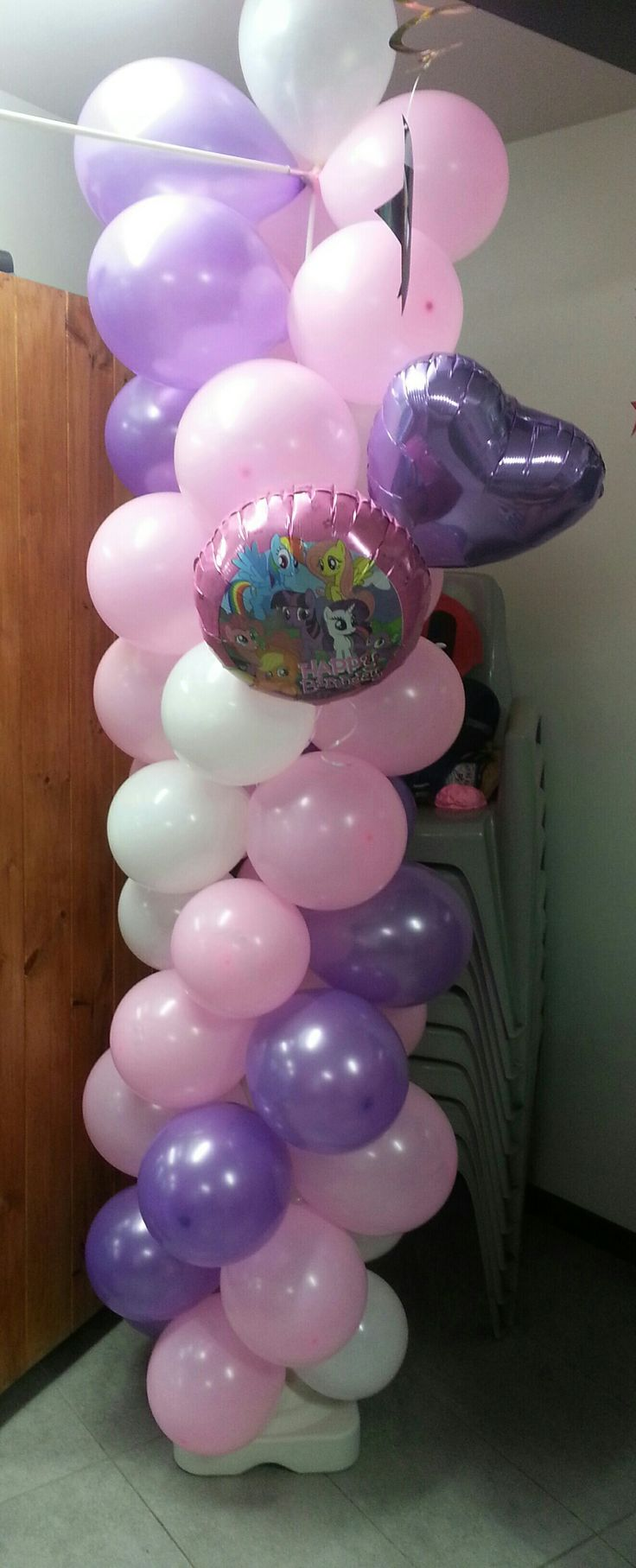 Pink, Purple and white balloon colum