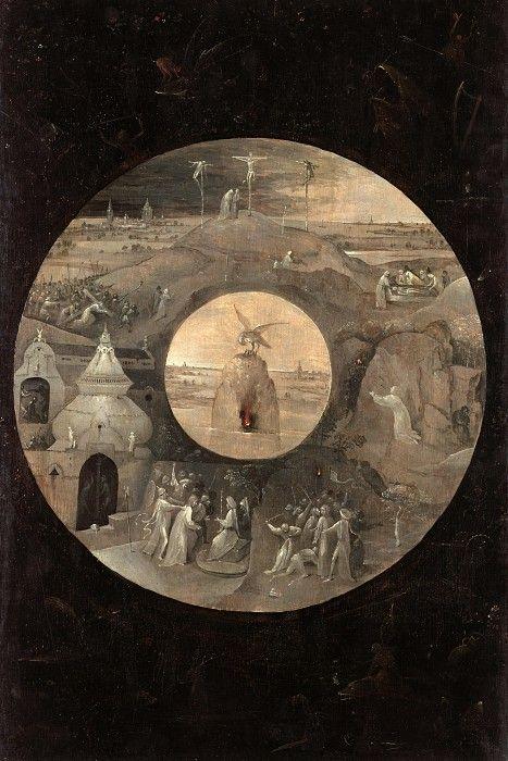 Святой Иоанн на Патмосе (оборотная сторона - Сцены страстей Христовых и пеликан с птенцами). Иероним Босх. Описание картины, скачать репродукцию.