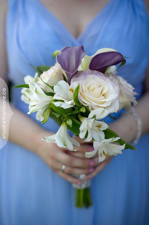 Bridesmaid's bouquet with white alstro, purple and mauve calla lilies and cream roses - elegant! #ottawadecor #ottawaflowers #weddingdecor #weddingideas #weddinginspiration #ottawawedding #ottawadecorator #613 #elegantwedding #uniquewedding #WeddingBellesDecor #ottawaweddingdecorator #calla #bouquets