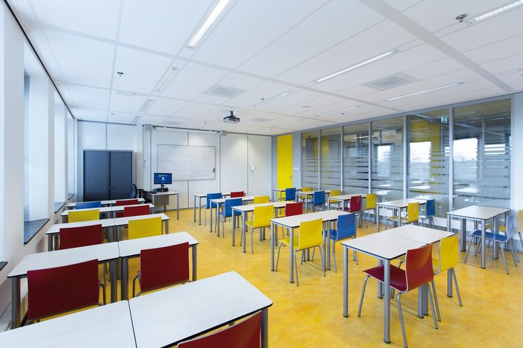 Mondrian School, Holandia, Armstrong, sufity podwieszane, sufit akustyczny, acoustic, ceiling