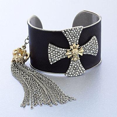Rock and Republic Two Tone Cross Cluster Cuff Bracelet