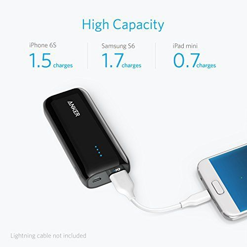 [Upgraded to 6700mAh] Anker Astro E1 Candy-Bar Sized Ultra Compact Portable Charger, External Battery Power Bank, with High-Speed Charging PowerIQ Technology (Black)