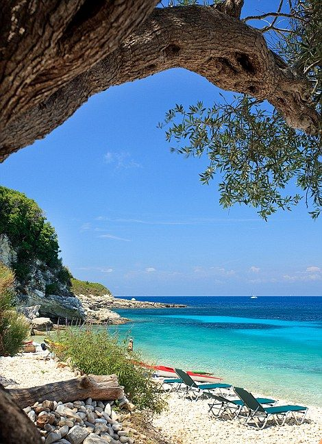 Breathtaking beauty! Paxos Island! Why not have a go on the hammocks under the olive trees...