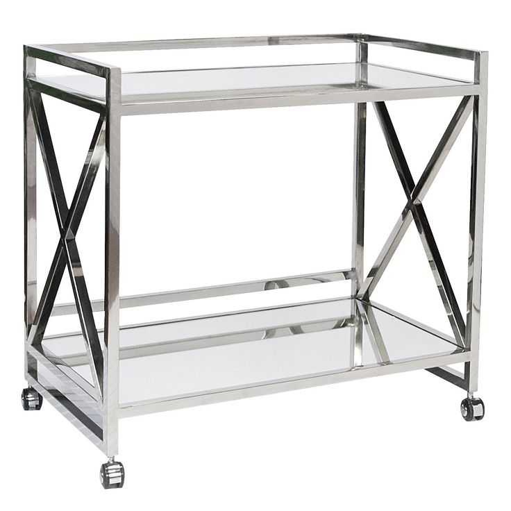 """Polished+Stainless+""""x""""+Bar+Cart+with+Mirrored+Shelves."""
