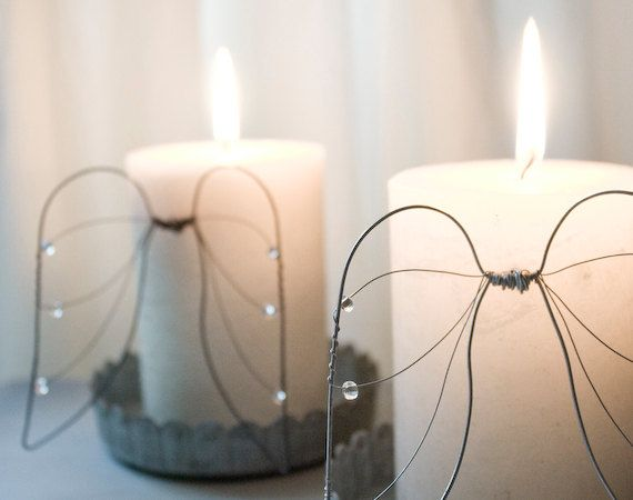 Small Angel Wings, two sets of metal wire decoration for candles