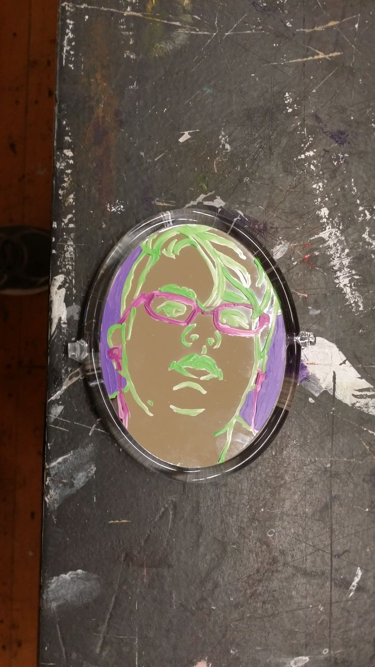 second (replacement) mirror portrait based on methods from session 5 - acrylic on mirror