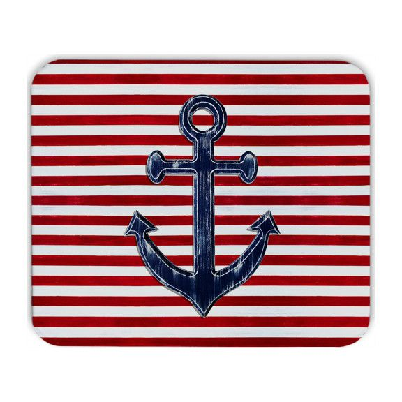 Nautical Mousepad - Navy blue anchor on red and white stripes