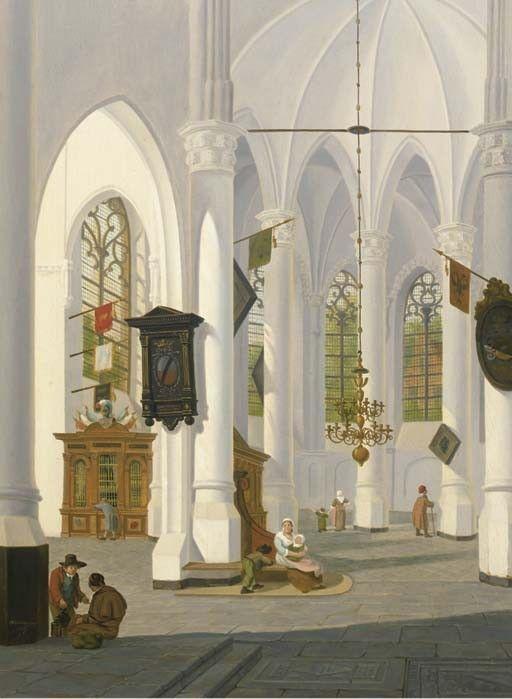 Jan Hendrik Verheijen (Dutch, 1778-1846). A sunlit church interior signed and dated 'JHVerheyen f/1817' (lower left) oil on panel
