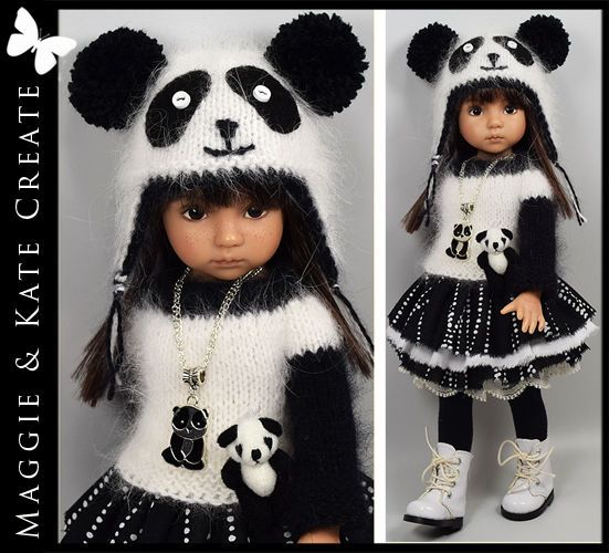 """** PANDA ** Outfit for Little Darlings Dianna Effner 13"""" by Maggie & Kate Create. SOLD for $122.50."""