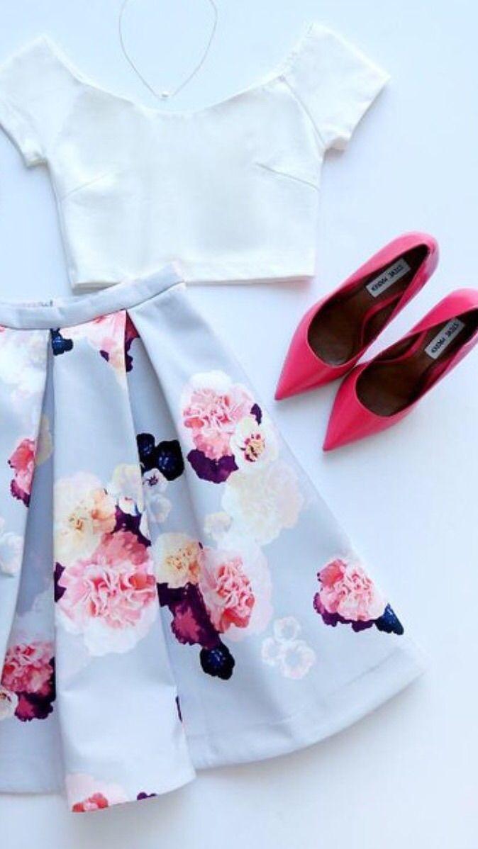Floral + midi skirt