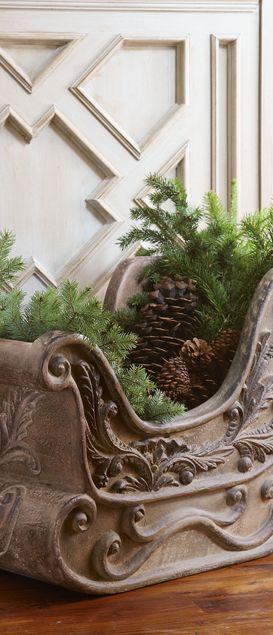 Rustic Christmas Sleigh Planter