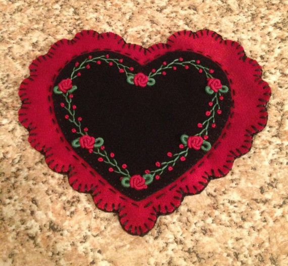 Wool penny rug,Valentines day heart, Votive candle mat, Roses, Embroidery. $22.50, via Etsy.