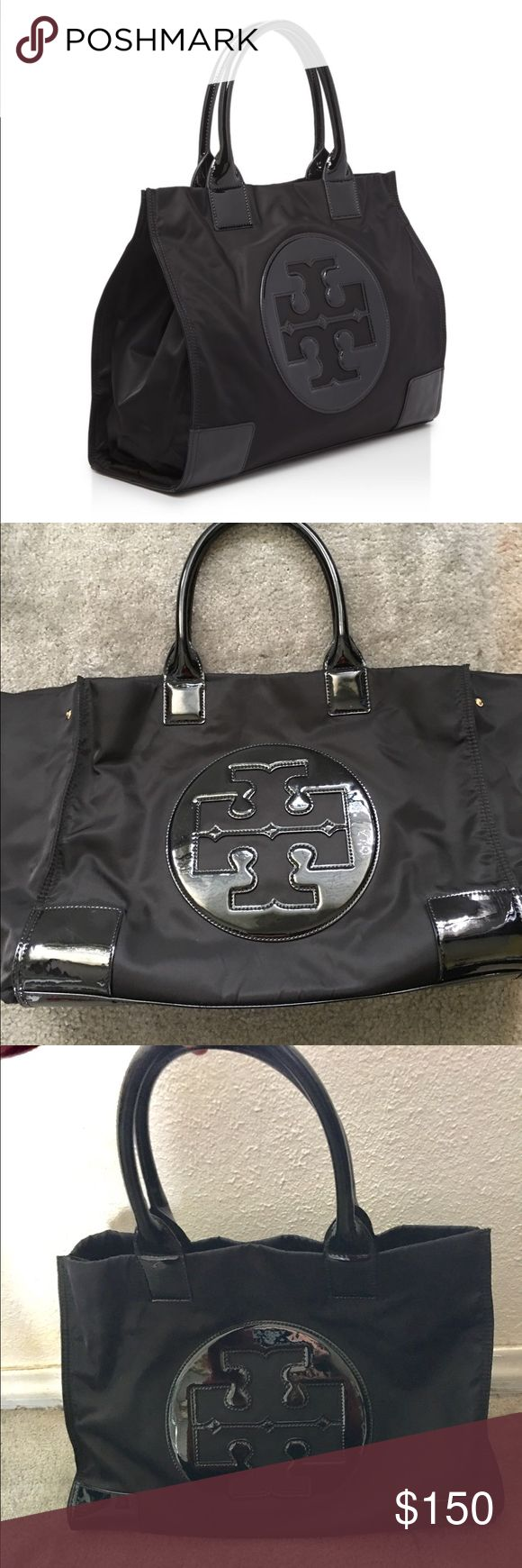 "Tory Butch Ella Nylon Tote Tory Burch Tote Bag | Color: Black | Oversized nylon Tote Bag featuring the Tory Burch signature logo | Double handles | Magnetic snap closure | Expandable side gussets with snap closures | 16""W x 6.5""D x 13""H ; 7"" Handle drop 