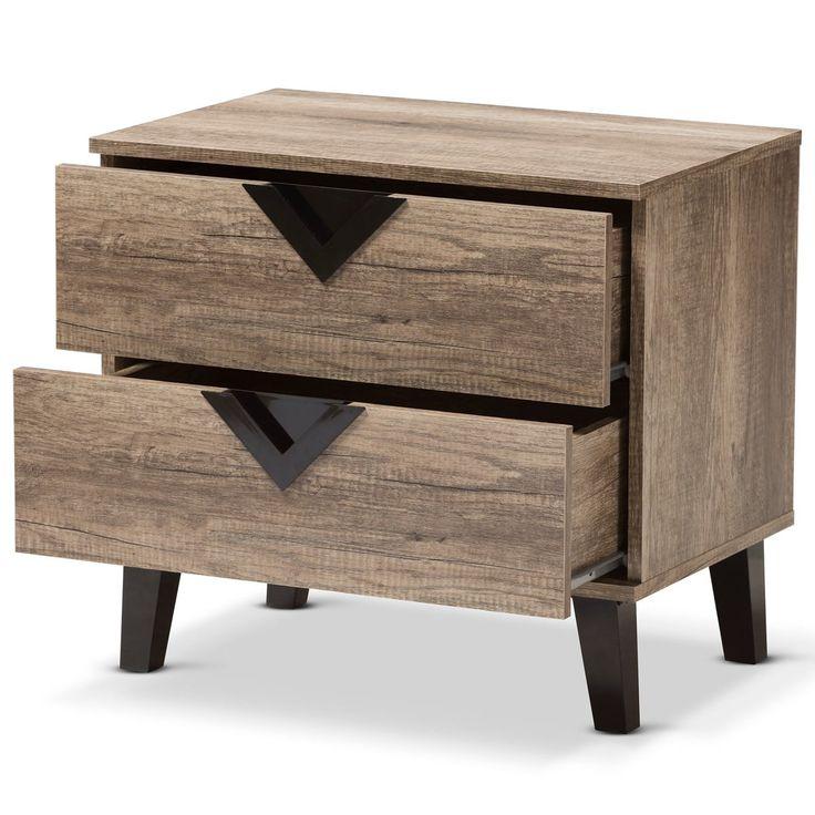 Baxton studio swanson light brown wood 2drawer nightstand