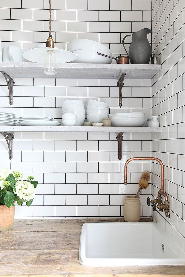 Marble shelves and cooper faucet                                                                                                                                                                                 More