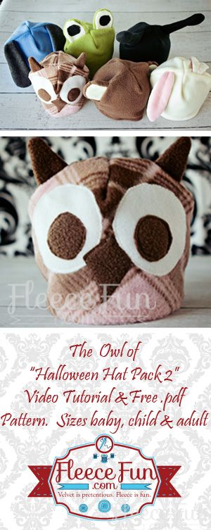 Free Fleece Owl Hat Pattern ♥ Fleece Fun