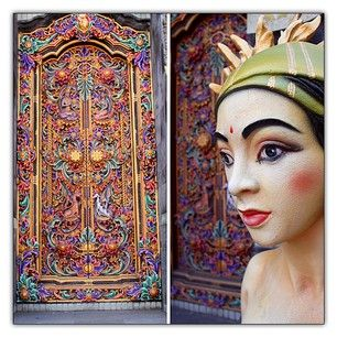 Ornate traditional hand carved and painted doorway leading the way into the temple