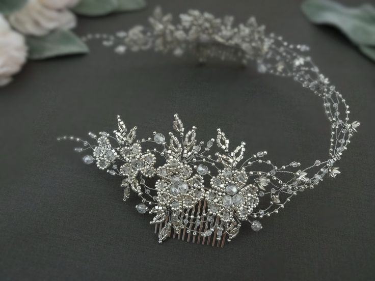 Inspired by nature. Handmade bridal silver tone head piece Made of Toho glass beads Swarovski crystals Czech glass beads wired with silver jewelry wire. #weddingheadpiece #weddingaccessories #wedding #bridalheadpiece #bridaltiara #bridalaccessories #weddingtiara #bridalhaircomb #jewellery #jewelry #weddingjewelry #Swarovski #swarovskiheadpiece #swarovskibridal #tiara #bridalhairvine #bridal #bridalhair #toho #beading #latviandesign #latviandesigner #swarovskicrystals #hairhalo