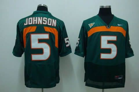 Men's NCAA Miami Hurricanes #5 Andre Johnson Green Jersey