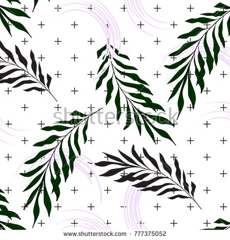Hand Drawn Palm leaves on crosses background. Surface pattern nature print. 2018 swimwear texture