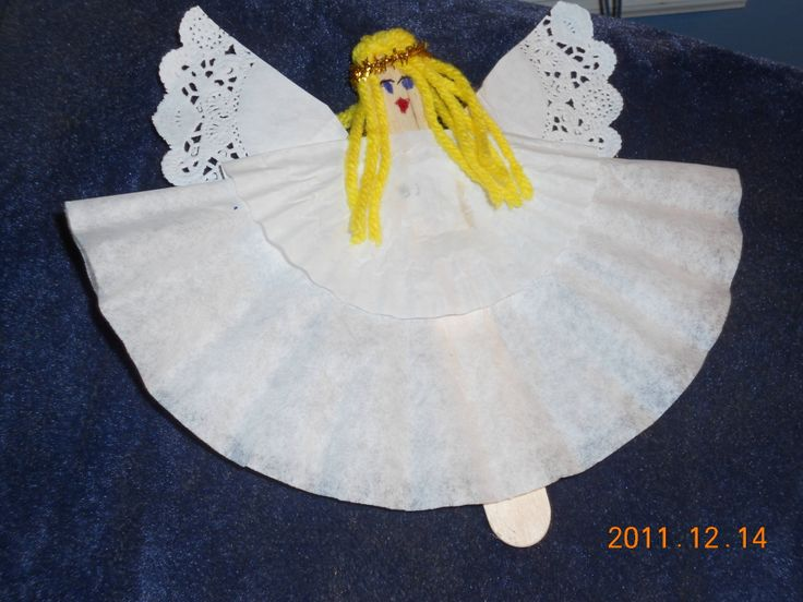 coffee filter angel craft = just use a popsicle stick, large and small coffee filter, small doilie, some yellow yarn, gold ribbon & make the face. Easy for kids to make