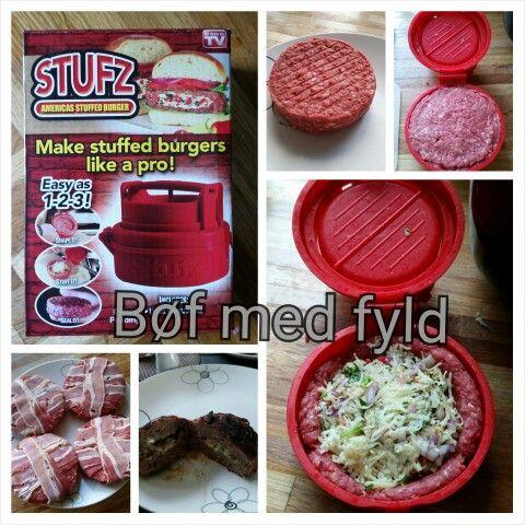 Bøf lavet med Stufz. Fyldet : basilikum, hvidløg, chili, emmentaler og rød løg.