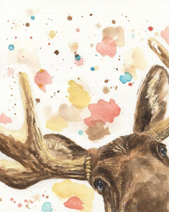 Peekaboo Moose Nursery Decor – Woodland Animal Art