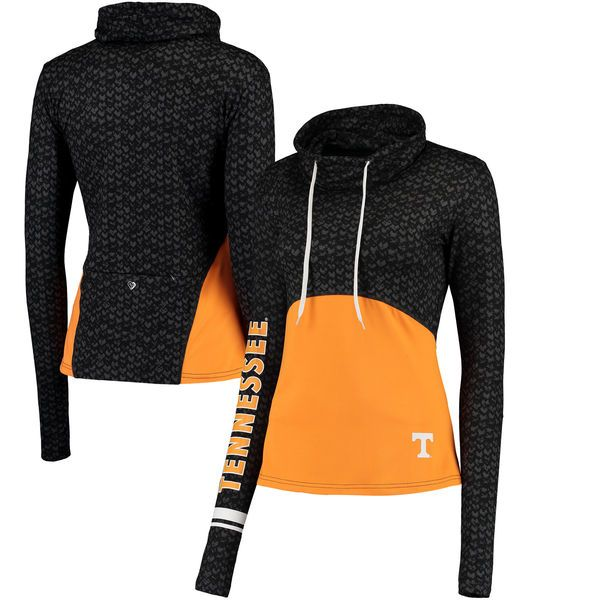 Tennessee Volunteers Colosseum Women's Scaled Cowl Neck Pullover Hoodie - Black/Tennessee Orange - $54.99