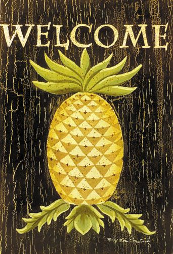 Custom decor flag pineapple welcome decorative flag at for Pineapple outdoor decor