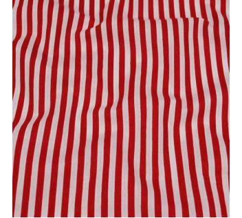 Bavlna červeno-bílý pruh, š.140