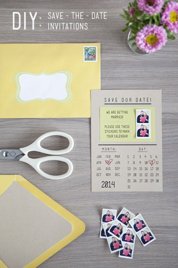 """DIY wedding invitation idea- give guests instagram stickers to """"save"""" the date on their calendars! So cute"""