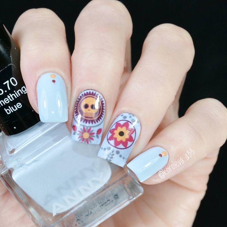 Blue, Red & Yellow Flower and Sugar Skull Nail Art