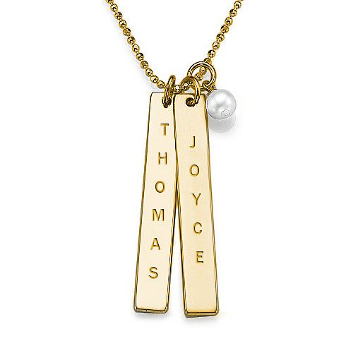 Name Tag Necklace with Freshwater Pearl - Gold Plated