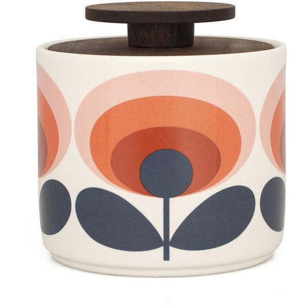 70s Flower Storage Jar 1L via Polyvore featuring home, home decor, handmade home decor, ceramic storage jars, orla kiely, 1970s home decor e orla kiely storage jars